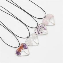 Fashion Heart Shape Tree Of Life Women Pendant Natural Stone Rainbow Quartz Crystal Pendant Necklaces For Women Men Jewelry Gift
