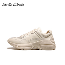 Smile Circle 2018 Spring Women Shoes Genuine Leather Fashion Retro Lace-up Sneakers Women Flat Casual Shoes Flat Platform Shoes(China)