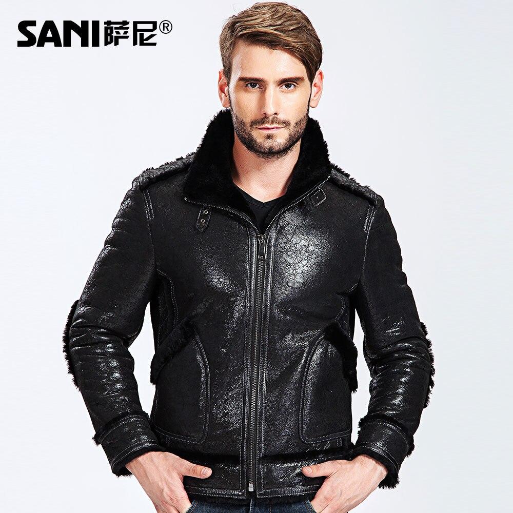 2017 Plaid Quality Shearling Coats Men Warm Coating Fur Genuine Leather Clothing Male Sheepskin Wool Liner Motorcycle Fur Coats