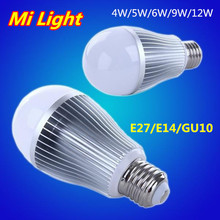 100% Original High Quality Mi Light Smart LED Lamp E27 E14 GU10 AC85-265V Dimmable LED Bulb 4W 5W 6W 9W 12W Mi-Light Spotlight
