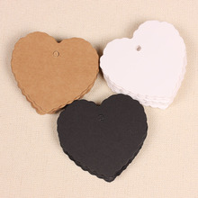 100pcs Kraft Paper Tags Heart Shape Label Luggage Wedding Event Note Wish Greeting Card Price Craft Gift Message Hang Tag