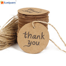 LumiParty 100pcs Wedding Supplies Kraft Paper Wedding Decoration Circular Flags Banners, DIY Wishing Bottle Cards 25