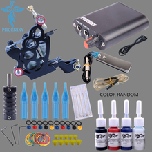 Tattoo Machine Kit One Tattoo Gun Beginner Tattoo Supplies Professional Tattoo Kit Complete 4 Inks with Power Supply Clip Cord