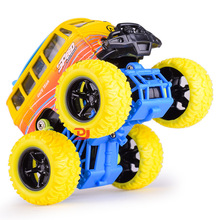 Simulation Four Wheel Drive Inertia Cross Country Large Round Alloy Bus Children Graffiti Toy Car