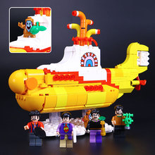 LEPIN Ideas The beatles Yellow Submarine Drag Racer Car Building Blocks Bricks Model Kids Toys Marvel Compatible with 21306