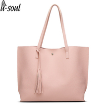 fashion handbags tassel pendant design pu women leather shoulder bags large tote top-handle handbags female A267