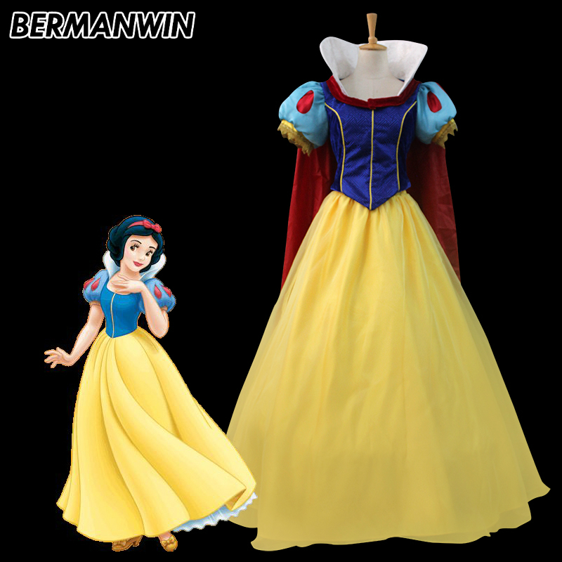 BERMANWIN High Quality Princess Snow White Dress Halloween Costumes Snow White Cosplay Lace Up Dress Fancy Costume Custom made