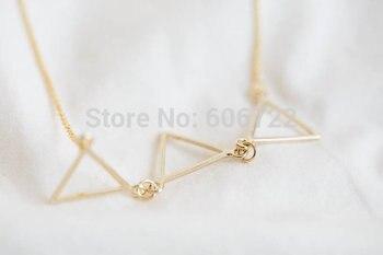 QIMING Geometric triad triangles necklace Women 2017 Geometric Triangle Necklace Jewelry za Collier Femme