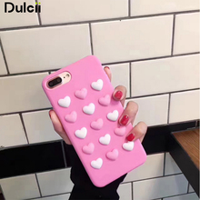 Dulcii For iPhone 7 Plus Case 3D Love Hearts TPU Soft Mobile Casing for iPhone 7 Plus 5.5 inch - Pink