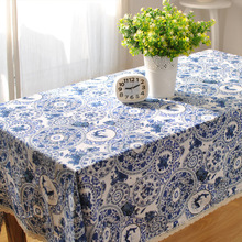 Round Tablecloth Blue Printed Cotton Linen Rectangle Wedding Tablecloth Lace Table Cover Handmade Embroidery Table Cloth