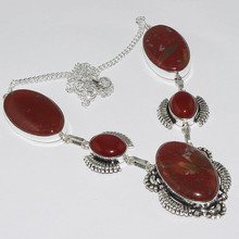 Jaspers & Carnelian  Necklace  Silver Overlay over Copper , 51.5cm, N1044