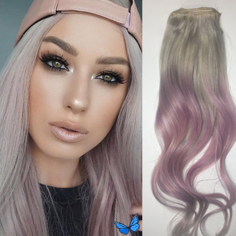 High Quality Balayage Clip in Human Hair Extensions Ombre Color Grey Fading to Pink Clip ins Extensions Hot Sale BY277<br><br>Aliexpress