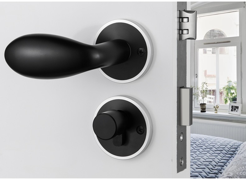 Black simply aluminum alloy door locks Continental bedroom minimalist interior door handle lock cylinder security locks Packages<br>