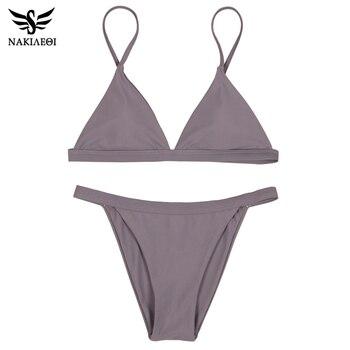 NAKIAEOI 2017 Nouveau Sexy Micro Bikinis Femmes Maillot de Bain Maillots De Bain Halter Brésilien Bikini Set Beach Maillots de Bain de Vêtements De Bain Biquini