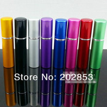 100pcs/Lot Hot pump empty perfume bottle 5ml Aluminum glass Anodized Compact parfum atomiser fragrance mini spray scent-bottle