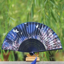 1pcs Folding Hand Held Fan Japanese Silk Handmade Cherry Blossom Wedding Dancing Party Supplies