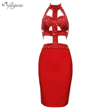 ailigou 2017 Summer new women dress celebrity party red navy black bandage dress bodycon sequined turtleneck dresses vestidos(China)