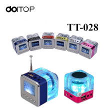 DOITOP TT-028 LED Mini Speaker Crystal Display Portalble TT028 Loud Subwoofer Music MP3 Player Support TF Card USB with FM Radio(China)