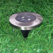 4 Pieces LED Garden Lights Stainless Steel Garden Solar Light for Fence Garden Street Decoration Outdoor Lighting 2 LED