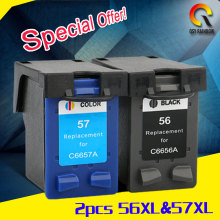 2pcs For HP 56 57 Ink Cartridge for HP56 xl 57 xl Deskjet 5150 450CI 5550 5650 7760 9650 PSC 1315 1350 2110 2210 2410 printer