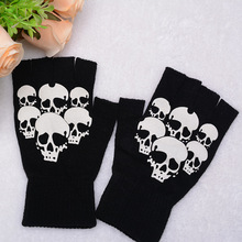 Unisex Womens Mens Winter Warm Printed Skull Fitness Fingerless Gloves Knitted Guantes Gym Tactical Work Gloves(China)