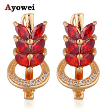 High Quality Suppliers Royal Garnet  Gold tone Red Zircon Fashion Jewelry Clip Earrings for Women JE1049A