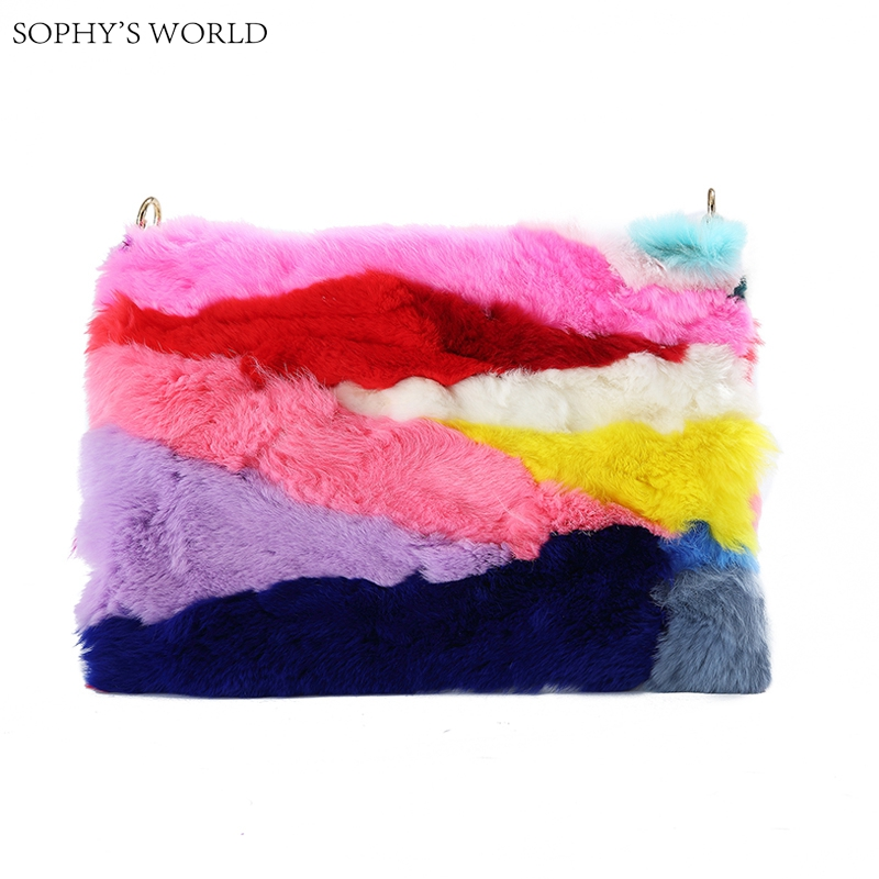 Real rabbit fur bag women luxury 2017 color stripe day clutches winter korean handbags chain shoulder bag large clutch hand bag<br>