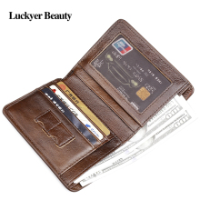 LUCKYER BEAUTY Vintage Mini Men's Wallets Genuine Leather Clutch Fashion Short Wallet For Men Small Male Purse for Card Holders(China)