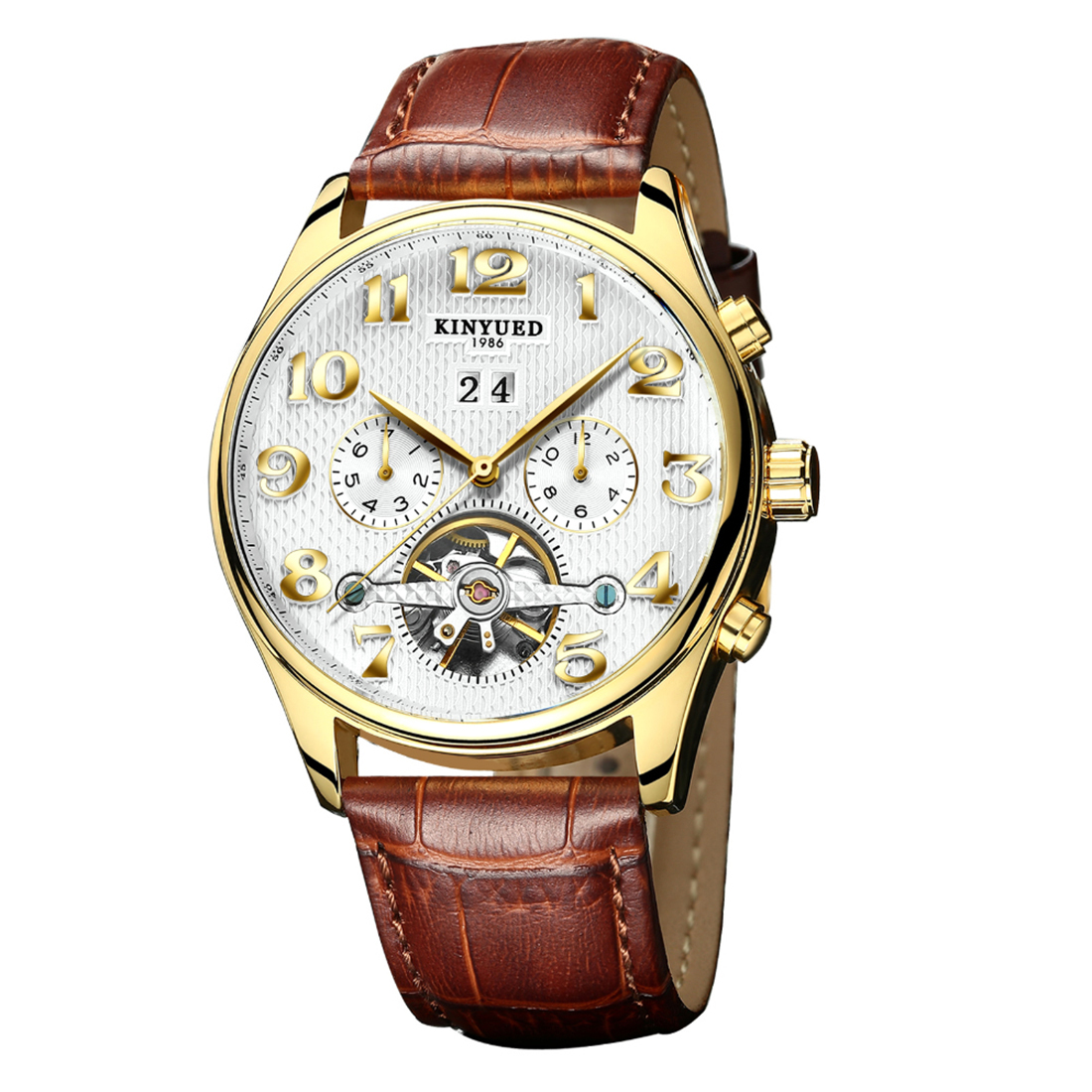 Brown Leather Watchband Men Business Watches Large White Dial Sport Watch Exquisite Quartz Wristwatch Men Relogio Masculino 2018<br>