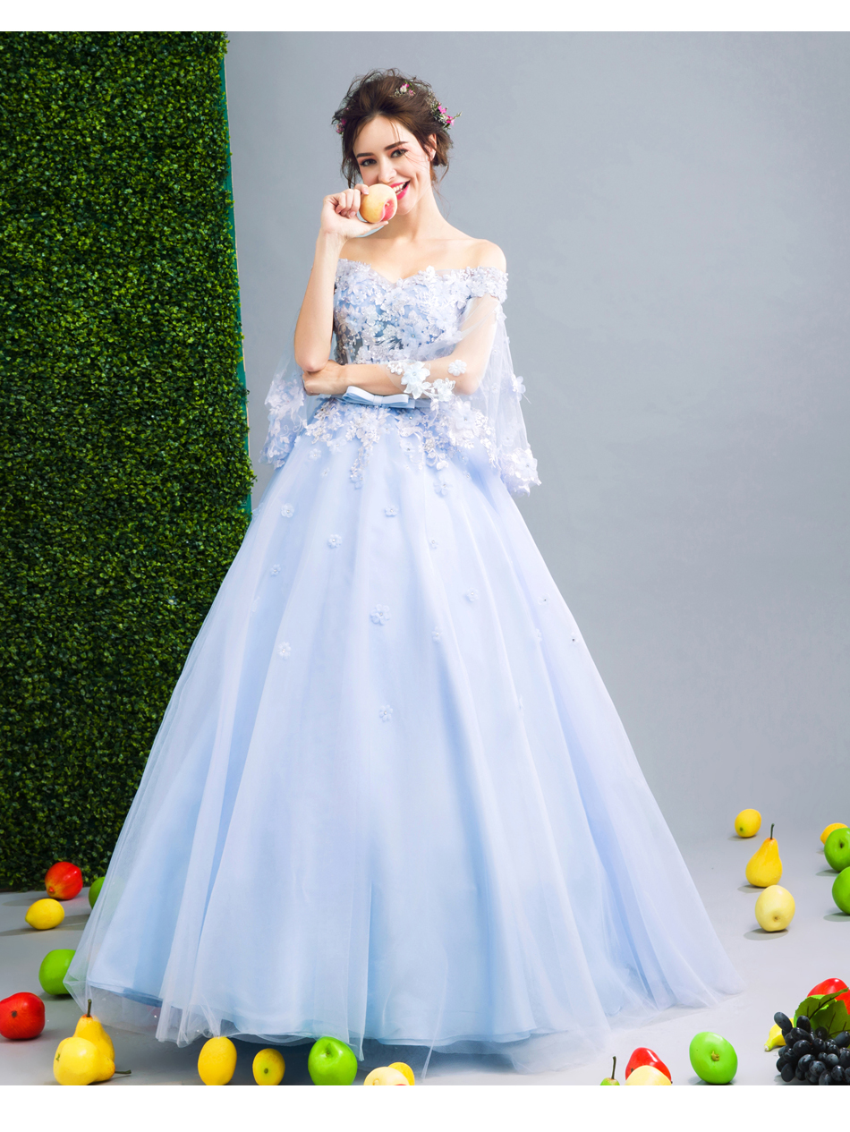 Angel Wedding Dress Marriage Bride Bridal Gown Vestido De Noiva Fairy, blue, handmade petals 2017 257 14