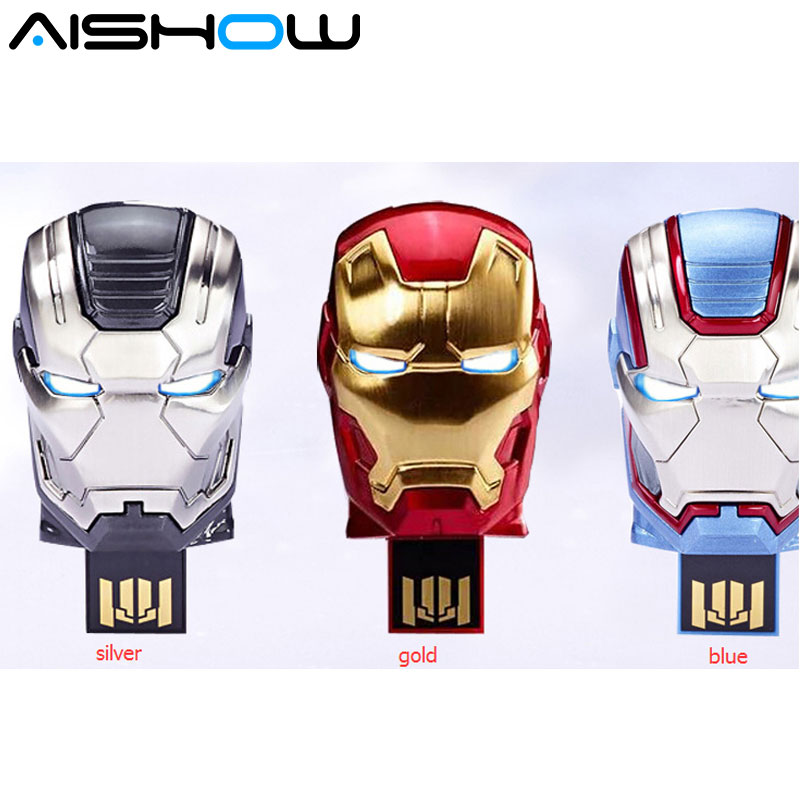 New arrival Avengers Iron Man blue 8GB 16GB 32GB 64GB U Disk Pen drive usb Flash Drive memory stick Free