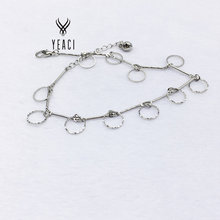Anklets For Women Jewelry Leg Bracelet Tornozeleira Free Shipping Wholesale 10pcs Circle Pendant Metal Anklet