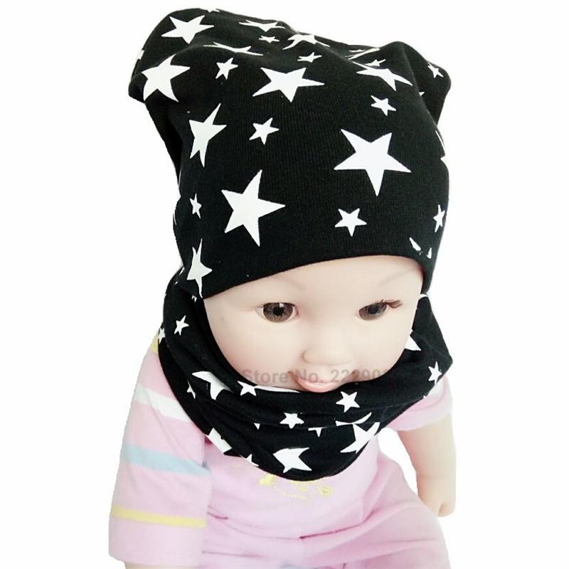 dfb2438e0 Baby Hat Nice Star Print Cotton Children Hat Scarf Collar Spring Baby