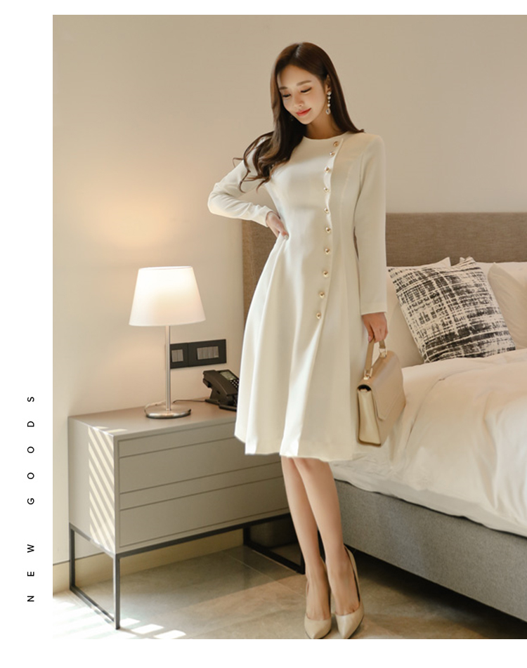 Elegant Dress Women Casual Long Sleeve Dress Office Lady Runway Designers High Fashion Dress 4