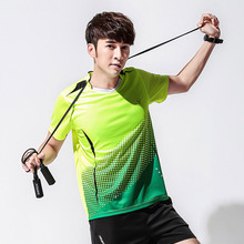 New Men's badminton clothing summer quick dry ping-pong tennis sport Short Sleeve shirt Free shipping