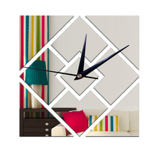 Funlife 28x28cm 3D Square Shape Mirror-Like Reflective Decorative Wall Clock,Quartz movement Slience for Living Room Decoration