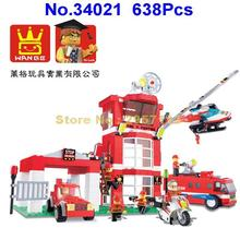 Wange 34021 638pcs City Fire Emergency Rescue Fire Engines Helicopters Building Block Brick Toy