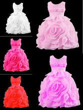 Toddler 3D children girls rose princess dress sleeveless dress tutu kids baby girl flower dress. Top qualityC3002
