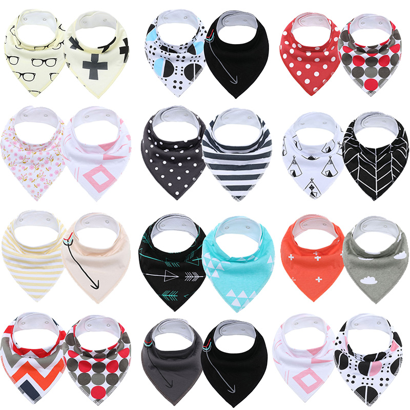 2Pcs/Lot Baby Bandana Bibs Extra Soft Natural Cotton Baby Drool Bib for Drooling and Teething Super Absorbent Baby Shower Gifts(China)
