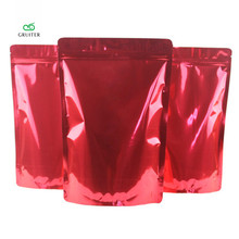 Printing Logo Red 2 Sizes Pure Aluminum Foil Stand Up Bags Package Pouch W/zipper Food Storage Sealable Packing Bag 100x