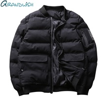 Grandwish Fashion Thick Bomber Jacket Men with Big Pocket Winter Parkas Men Warm Jacket Outwear Padded Thick Coat Male,DA423(China)