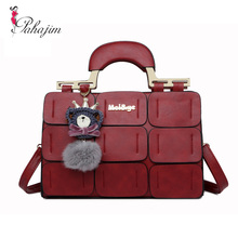 The new spring/summer 2017 women bag suture Boston bag inclined shoulder bag women leather handbags(China)