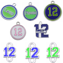 7 Styles Enamel Football Seahawks Proud And Loud 12 Charms The Forever 12 Pendant Charms For DIY Necklace & Bracelet & Earring(China)
