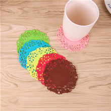 Europe 6Pcs Lace Flower Doilies Silicone Coaster Coffee Table Cup Mats Pad Placemat Kitchen Accessories Cooking Tools(China)