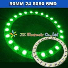 Free shipping + Wholesale + 5 pair /lot + Green color Car headlight angel eyes halo rings light 90mm 24 5050 SMD led lamp 12V(China)