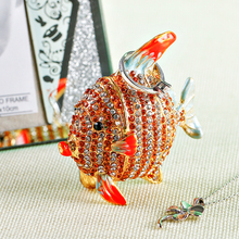 2.6'' Metal Cute Fish Figurine Women Ring Jewelry Holder Trinket Box Stand Box Wedding Jewelry Display Case Christmas Gift