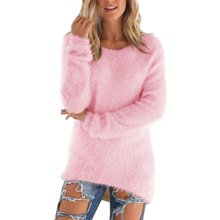 Women Solid Cotton Knit Girls Warm Long Sleeve Soft Sweater Jumper Pullover Outwear Tops