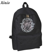 Women Canvas Backpack Girls Embroidery Flowers Puppy Style School Bookbag Rose Embroideried Travel Bagpack Sac A Dos @7112(China)