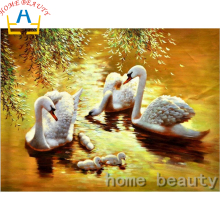 3D diamond pattern Diy painting animals swan picture of rhinestones pasting decorative painting embroidery mosaic paint AB376(China)
