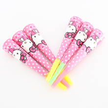 6 Pcs/lot Hello Kitty Theme Paper Speaker Cartoon Baby Shower Kids Birthday Party Supplies Favor Noise Maker
